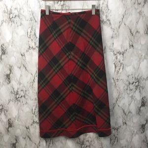Vintage Britches plaid wool skirt Christmas Maxi